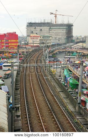 Lrt Railtrack At Edsa Train Station
