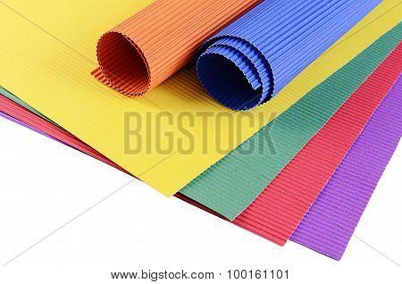 Set Of A Color Crepe Paper Close Up