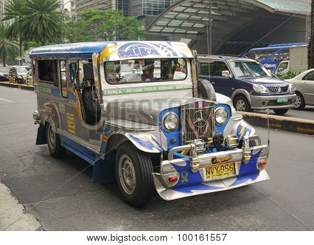 Jeepney On The Street In Manila