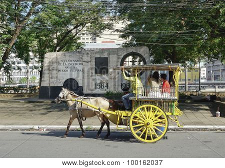 Horse With Carriage In Intramuros, Manila