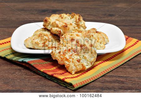 Biscuits With Cheddar Cheese, Garlic And Parsley.  Selective Focus On Front Biscuit.