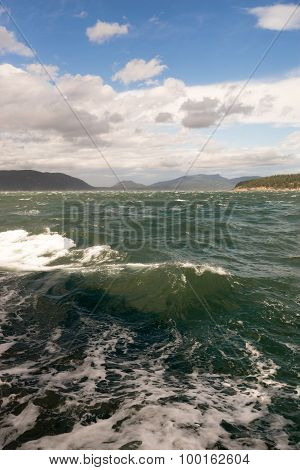 Rough Emerald Sea Large Waves Swells Puget Sound