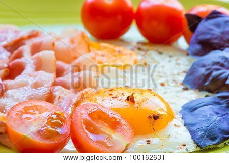 Close-up Shot Of Eggs And Bacon