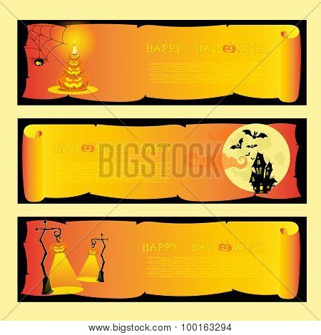Set banners halloween party with pumpkins, spider, bats, lamps, scary house and moon. Vector