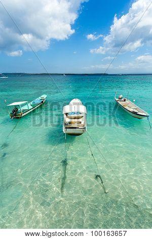 Small Boats On Nusa Penida Beach, Bali Indonesia, Pastel Color