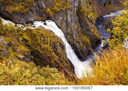Waterfall, Norway - Eidfjord Voringfossen - Beautiful waterfall in autumn forest