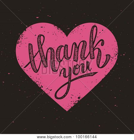 Thank You Handwritten Vector Illustration, Brush Pen Lettering On Pink Heart Background