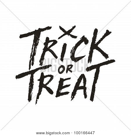 Trick Or Treat Handwritten Text Isolated On White Background, Halloween Vector Illustration