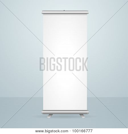 Roll Up Banner Blank Stand Design. Vector