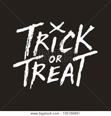 Trick Or Treat Handwritten Text On Dark Background, Halloween Vector Illustration