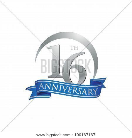 16th anniversary ring logo blue ribbon