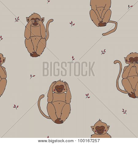 Wise monkeys seamless pattern, hear, see, sayand do no evil