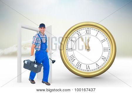Happy plumber with plunger and toolbox walking on white background against open door in sky