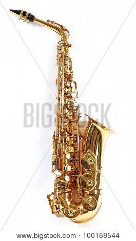 Golden saxophone isolated on white