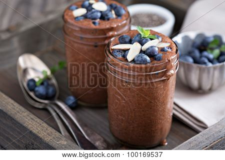 Healthy vegan chocolate chia pudding