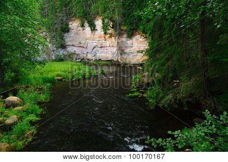 Ahja River Turn Near High Sandstone Shore, Estonia