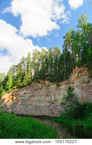 Sandstone Outcrops Of Taevaskoda Against Blue Sky, Estonia