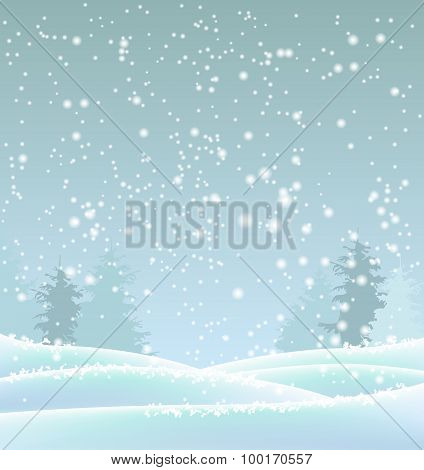 Abstract Blue Winter Background, Illustration