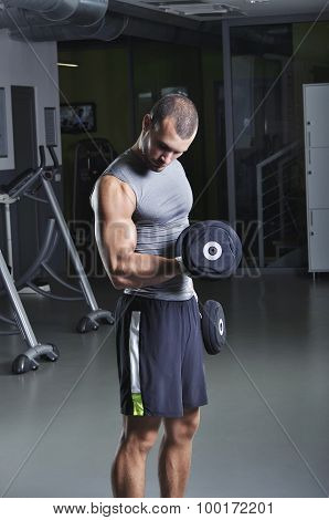 Handsome Muscular Male Model In A Standing Position With Dumbbells Doing Biceps Exercise