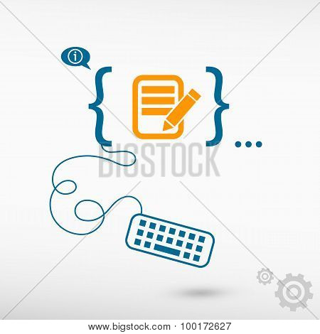 Document Icon And Flat Design Elements