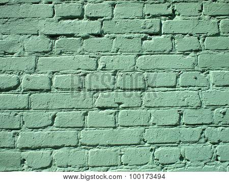 Fragment Of A Green Brick Wall