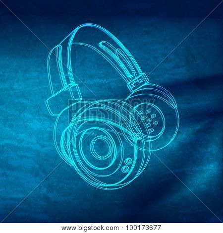 Headphones grunge music poster