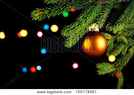 Christmas Balls In Front Of Black