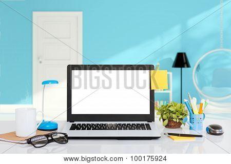 Laptop Computer On Desk Indoor Space