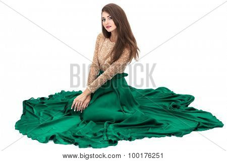 sitting women on a white background