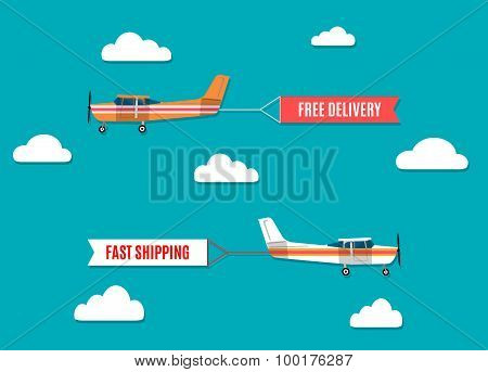 Flying Advertising Banners Pulled By Light Plane