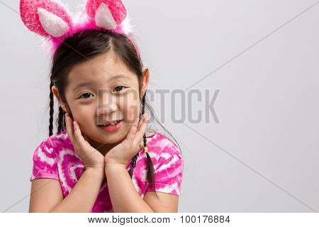 Kid With Bunny Ears Background / Kid With Bunny Ears / Kid With Bunny Ears On Isolated White Backgro