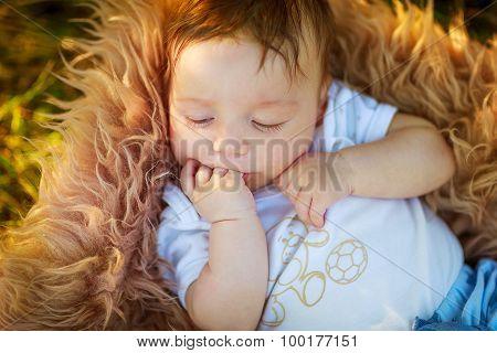 Sleeping Shaggy Baby Boy Sucking His Hand , Close-up, Summer