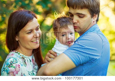 Parents With Baby Son  Summer