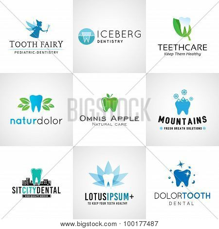 Set of dental logos. Vector tooth designs. Bright teeth clinic template. Creative health concept. Or