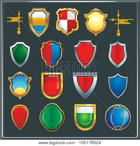 Set of different color and shape of heraldic shields.