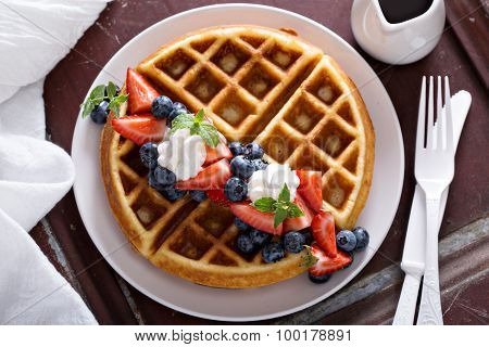 Fresh homemade waffles with ricotta