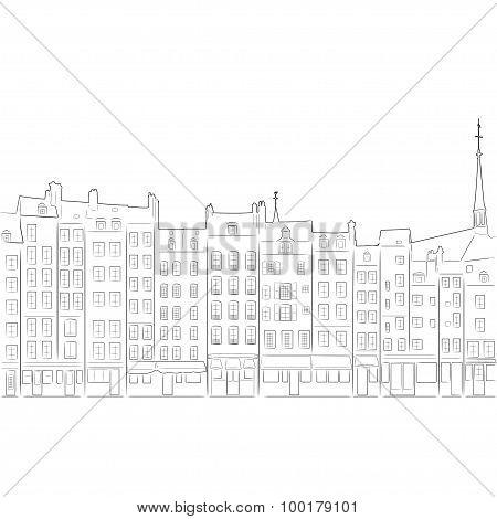 Outline Of Cityscape Honfleur, Vector Illustration