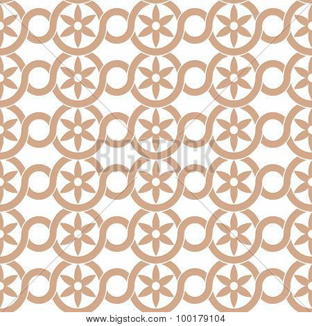 Seamless Pattern Circles And Flowers