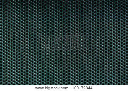 Dark Green Metal Background With Holes. Metal Grid.