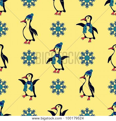 Penguins dressed in winter hats and scarves. Especially when the snowflakes falling