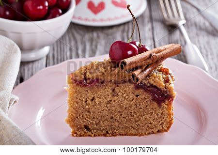 Cherry crumble coffee cake with cinnamon