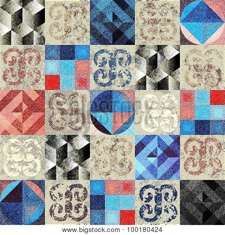 Grunge stilish geometric pattern.