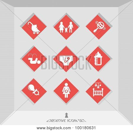 Abstract creative concept vector set of family icons for web and mobile app isolated on background,