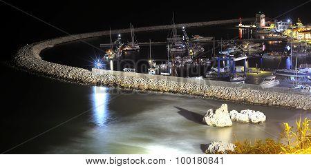 Tourist harbor of Rodi Gargano night.