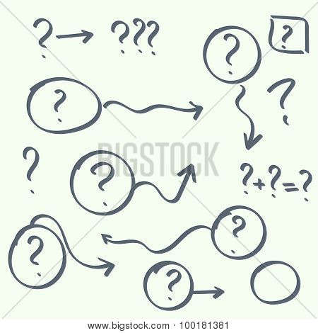 set of handwritten question marks