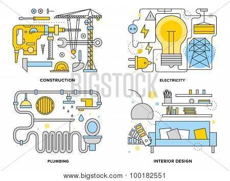 Building Renovation Flat Line Illustration