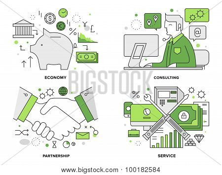 Banking Services Flat Line Illustration