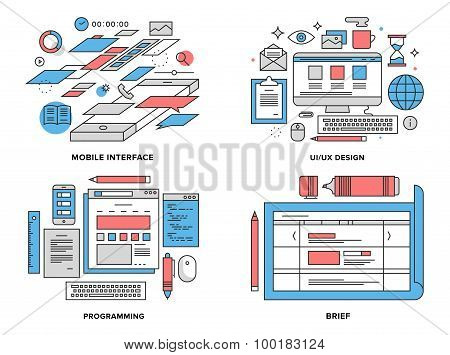 Interface Development Flat Line Illustration
