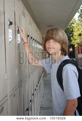 Middle Schooler At Locker