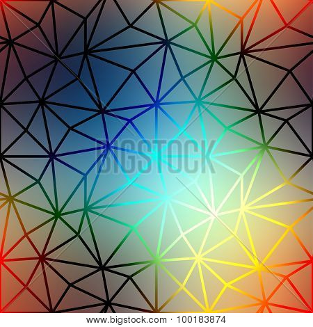 Geometric pattern of triangles on blurred background.